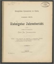 Königliches Gymnasium zu Conitz. Schuljahr 1890/91. Siebzigster Jahresbericht