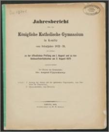 Jahresbericht über das Königliche Katholische Gymnasium in Konitz vom Schuljahre 1872-73