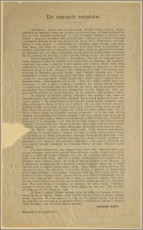 Do naszych rodaków. [Inc.:] Odchodzimy... Idziemy znów na obcą ziemię. Twardy rozkaz wojskowy, któremu zwykliśmy być posłuszni [...] : Warszawa, d. 29 sierpnia 1917 r.