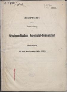Bericht über die Verwaltung der Westpreussischen Provinzial-Irren-Heil- und Pflege-Anstalt zu Schwetz für das Rechnungsjahr 1909