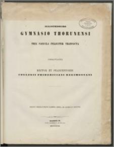 Illustrissimo Gymnasio Thorunensi. Tria Saecula Feliciter Transacta