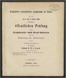 Königliches evanglisches Gymnasium zu Thorn. Zu der am 3. und 4. October 1859