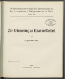 Zur Erinnerung an Emanuel Geibel