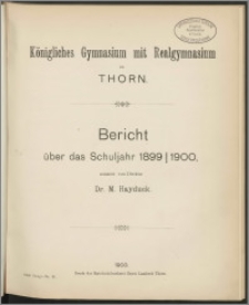 Bericht über das Schuljahr 1899/1900