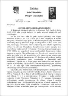 Biuletyn Koła Miłośników Dziejów Grudziądza 2006, Rok 4, nr 34(108): 16 Pułk Artylerii dawniej i dziś
