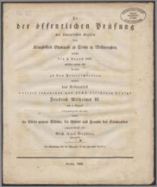 Zu der öffentlichen Prüfung der sammtlichen Klassen de Königlichen Gymnasii zu Conitz in Westpreussen welche den 2. August 1831