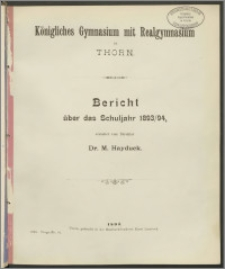 Bericht über das Schuljahr 1893/94