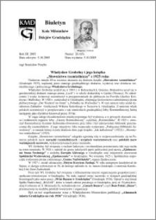 """Biuletyn Koła Miłośników Dziejów Grudziądza 2005, Rok 3, nr 26(65) : Władysław Grobelny i jego książka """"Słownictwo rzemieślnicze"""" z 1925 roku"""