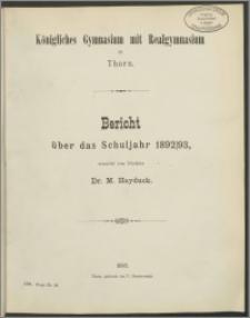 Bericht über das Schuljahr 1892/93