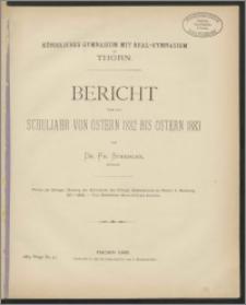 Bericht über das Schuljahr von Ostern 1882 bis Ostern 1883