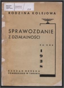 Sprawozdanie Zarządu Okręgu Pomorskiego Rodziny Kolejowej w Toruniu za Rok 1938
