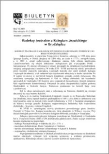Biuletyn Koła Miłośników Dziejów Grudziądza 2008, Rok VI, nr 7(160): Kodeksy teatralne z Kolegium Jezuickiego w Grudziądzu