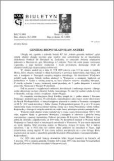 Biuletyn Koła Miłośników Dziejów Grudziądza 2008, Rok VI, nr 12(165): Generał broni Władysław Anders