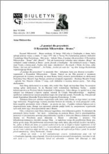 """Biuletyn Koła Miłośników Dziejów Grudziądza 2008, Rok VI, nr 19(172): """"Z pamięci dla przyszłości. O Ryszardzie Milczewskim – Bruno"""""""