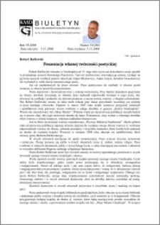Biuletyn Koła Miłośników Dziejów Grudziądza 2008, Rok VI, nr 33(186): Prezentacja własnej twórczości poetyckiej