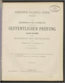 Zu der am Donnerstag den 3. October 1878 stattfindenden oeffentlichen Prüfung aller Klassen und der Entlassung der Abiturienten