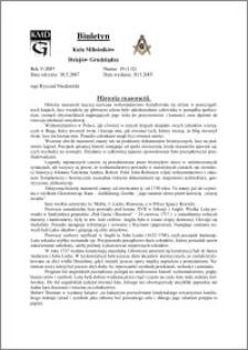 Biuletyn Koła Miłośników Dziejów Grudziądza 2007, Rok 5, nr 19(132) : Historia masonerii