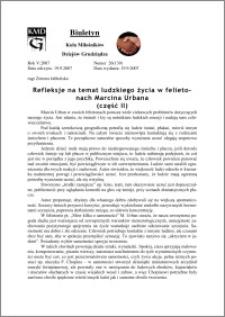 Biuletyn Koła Miłośników Dziejów Grudziądza 2007, Rok 5, nr 26(139) : Refleksje na temat ludzkiego życia w felietonach Marcina Urbana (część II)