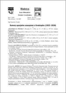 Biuletyn Koła Miłośników Dziejów Grudziądza 2007, Rok 5, nr 28(141) : Numery specjalne czasopism o Grudziądzu (1922-1936)