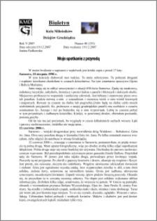 Biuletyn Koła Miłośników Dziejów Grudziądza 2007, Rok 5, nr 40(153): Moje spotkanie z przyrodą