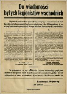 Do wiadomości byłych legionistów wschodnich : Kraków, dnia 16 października 1914