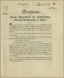 Sendschreiben an die Herren Abgeordneten der constituirenden National-Versammlung in Berlin. Bromberg, den 4. Juni 1848