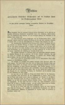 Petition der unterzeichneten Einwohner Westpreussens und der deutschen Theile des Grossherzogthums Posen an die zum zweiten vereinigten Landtage versammelten Vertreter des Preussischen Volkes. Bromberg, den 28. März 1848