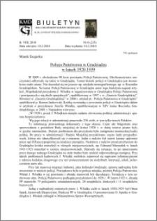 Biuletyn Koła Miłośników Dziejów Grudziądza 2010, Rok VIII, nr 6(235): Policja Państwowa w Grudziądzu w latach 1920-1939