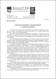 Biuletyn Koła Miłośników Dziejów Grudziądza 2010, Rok VIII, nr 10(239): Związki rodziny Marzinków z Grudziądzem