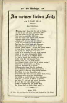 An meinen lieben Fritz am 7. Juni 1848. 6te Auflage