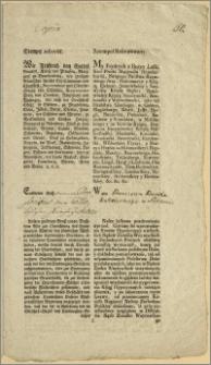 """[Rozporządzenie. Incipit] : My Frydrych [II] z Bożey Łaski Krol Pruski ..."""", dan w Kwidzynie [Marienwerder] 8go lutego 1778"""