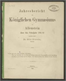 Jahresbericht des Königlichen Gymnasium zu Allenstein über das Schuljahr 1891/92