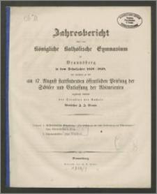 Jahresbericht über das Königliche Katholische Gymnasium zu Braunsberg in dem Schuljahre 1858-1859