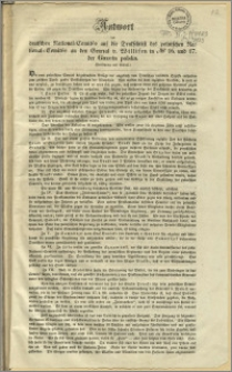 Antwort des deutschen National-Comités auf die Denkschrift des polnischen National=Comités an den General v. Willisen in No 16 und 17 der Gazeta polska