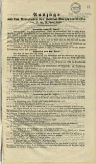 Auszüge aus den Protokollen des Central-Bürgeransschusses vom 15. bis 21. April 1848