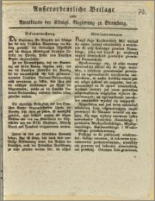 Ausserordentliche Beilage zum Amtsblatte der Königl. Regierung zu Bromberg. Bekanntmachung