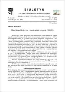 Biuletyn Koła Miłośników Diejów Grudziądza 2011, Rok IX, nr 30(299): Ulica Adama Mickiewicza w okresie międzywojennym 1920-1939