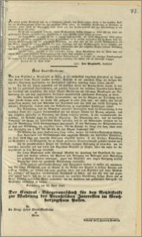 [Obwieszczenie. Incipit] Zu meiner grossen Betrübnis habe ich in Erfahrung gebracht dass Feinde unserer Kirche in den deutschen Kreisen des Grossherzogthum Posen sich alle erdentliche Muhe geben [...]. Posen den 21. April 1848