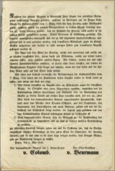 [Obwieszczenie. Incipit] Nachdem des Königs Majestät in Allerhöchst Ihrer Gnade den politischen Gefangenen vollständige [...] : Posen, den 5. Mai 1848