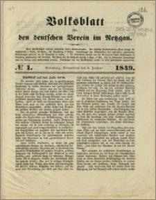 Volksblatt für den deutschen Verein im Netzgau, 1849.01.06, nr 1