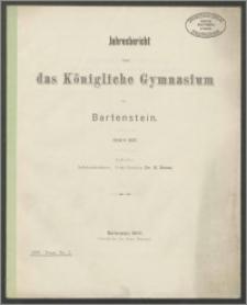 Jahresbericht über das Königliche Gymnasium zu Bartenstein Ostern 1907