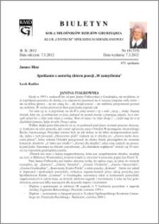 """Biuletyn Koła Miłośników Dziejów Grudziądza 2012, Rok X, nr 10(315): Spotkanie z autorką zbioru poezji """"W zamyśleniu"""""""