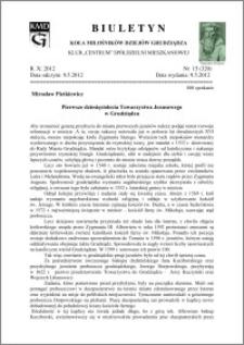Biuletyn Koła Miłośników Dziejów Grudziądza 2012, Rok X, nr 15(320): Pierwsze dziesięciolecia Towarzystwa Jezusowegow Grudziądzu