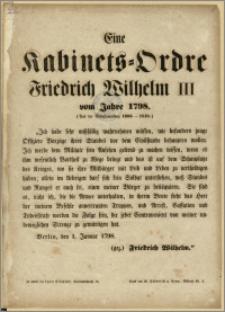 Eine Kabinets-Ordre Friedrich Wilhelm III vom Jahre 1798 : (Aus der Gesetzsammlung 1806-1810)