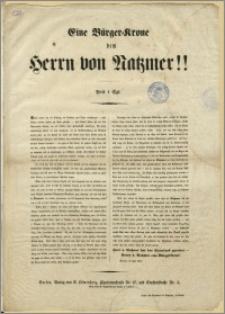 Eine Bürger - Krone dem Herrn von Natzmer!! : Berlin, im Juni 1848