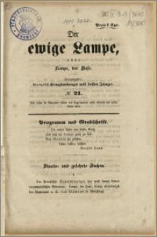 Der ewige Lampe, oder Lampe, der Hase. Herausgeber : Evangelist Hengstenberger und dessen Jünger. No 21