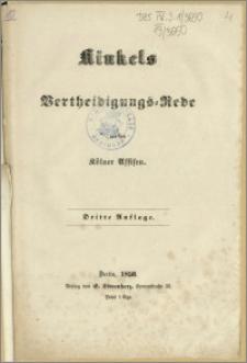 Kinkels Verteidigungs = Rede vor den Kölner Assisen. Dritte Auflage