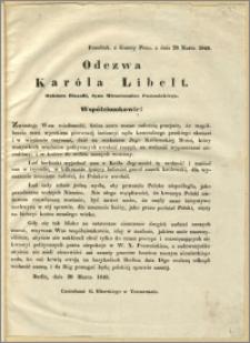 Odezwa Karóla Libelt : Współziomkowie!