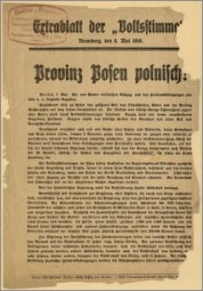 """[Ulotka] : [Inc.:] Volksstimme. Extrablatt der """"Volksstimme"""". Bromberg, den 8. Mai 1919. Provinz Posen polnisch!"""