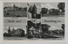 Grusß saus Lauenburg i. Pom. : Marktplatz : Efeuturm : Horst-Wessel-Platz : Rathaus u. Städt. Sparkasse : Bismarckturm : Schwanenteich m. Gefallenene-Ehrenmal